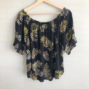 Maurices Black Tropical Palm Leaf Print Blouse 1